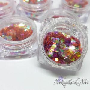 Холограмни розови конфети за нокти