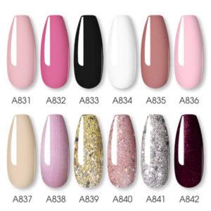 Комплект 12 цвята розови и брокатени гел лакове Rosalind