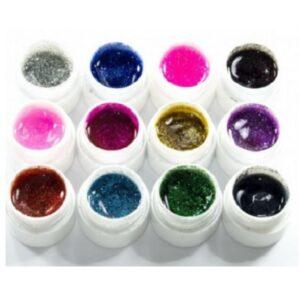 Комплект 12 цвята UV гел с брокат Lila Rossa