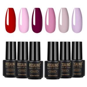 Комплект 6 розови-лилави гел лакове Rosalind