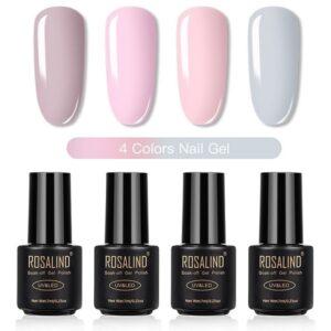 Комплект 4 гел лака Rosalind в розова гама