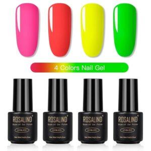 Комплект 4 неонови гел лака Rosalind